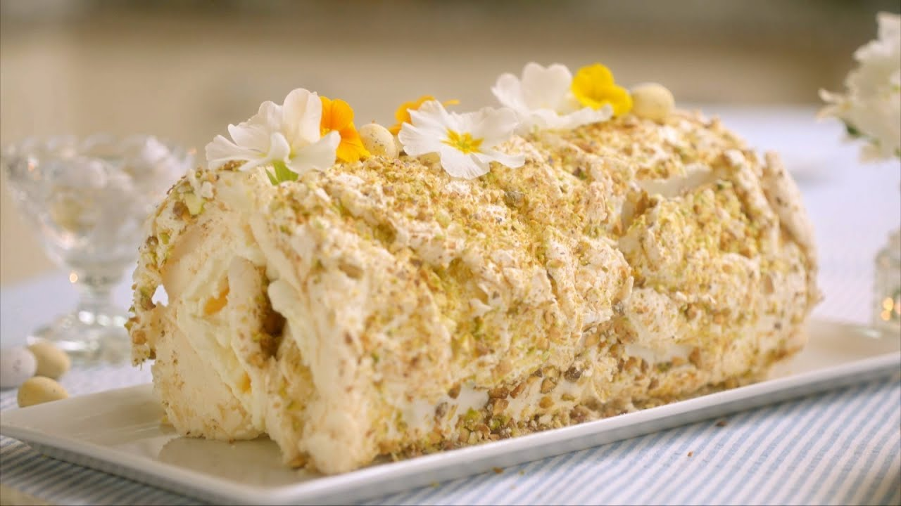 Lemon & Pistachio Meringue Roulade recipe - Mary Berry\'s Easter ...
