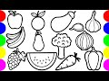40+ Most Popular Coloring Fruits And Vegetables Drawing For Kids