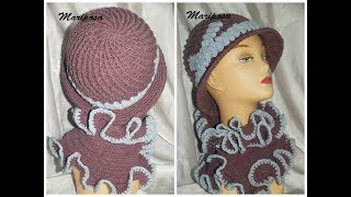 Зимняя шляпка крючком.Winter hat crochet.