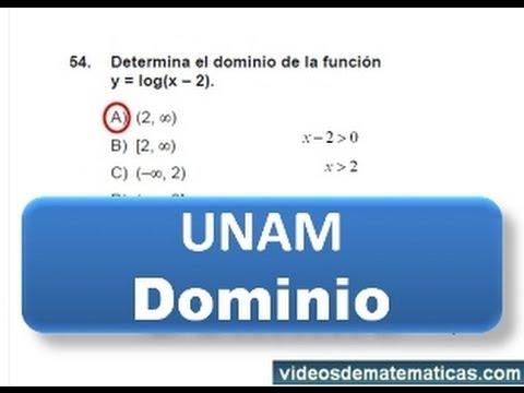 UNAM   2013 Examen de admision Pregunta 54 dominio funcion logaritmo