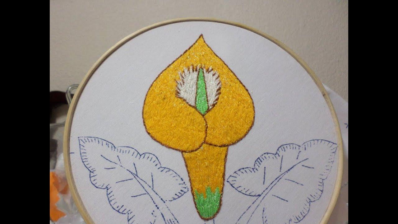 Bordado fantas a alcatraz 3 flor cartucho youtube - Flores de telas hechas a mano ...