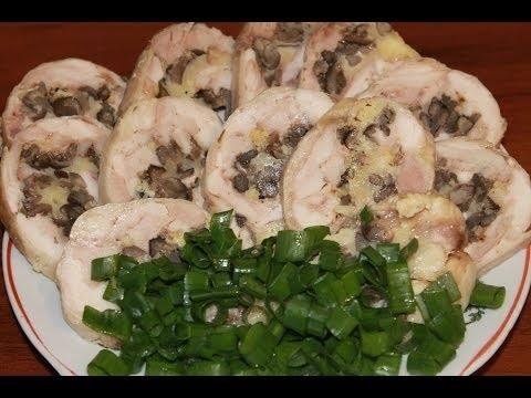 Куриные рулеты с грибами и сыром