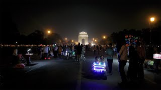 People's activity at Rajpath in front of India Gate during night