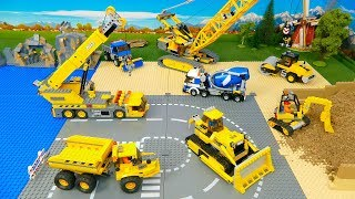 Lego Bulldozer, Concrete Mixer, Dump Truck, Mobile Crane , Tractor, Excavator Toy Vehicles for Kids