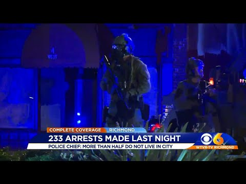 Police: 233 arrested Sunday; most not from Richmond