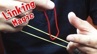 Linking Rubber Band Magic Trick. つながる 輪ゴムマジック!最後のは不思議です。