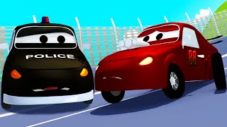 The Car Patrol: fire truck and police car and the Racing car's wheels problem  in Car City