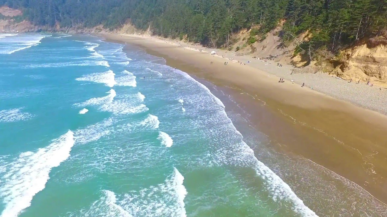 Short Sand Beach At Oswald West State Park In Oregon Drone Footage