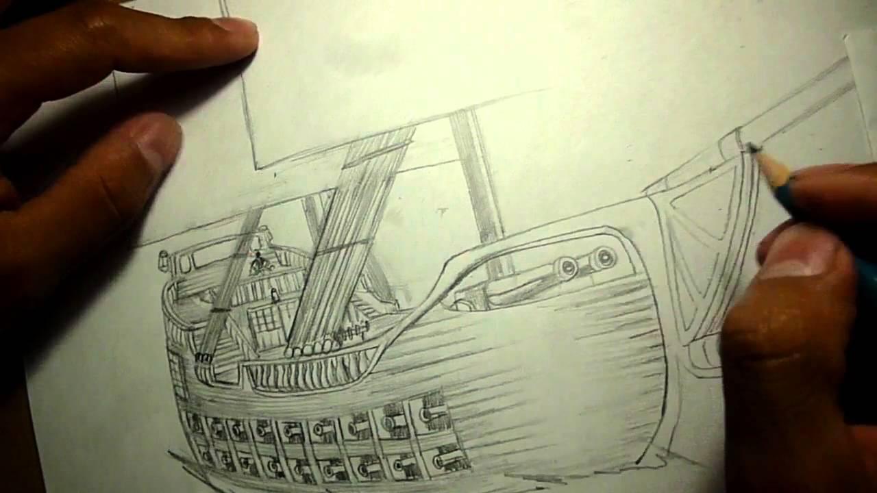 Dibujo De Barco Del Siglo XVII (ED) - YouTube
