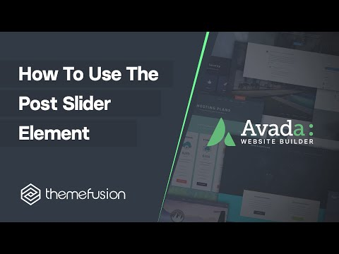 How To Use The Post Slider Element Video