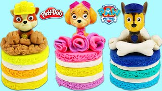 How to Make Cute Paw Patrol Play Doh Cakes with Chase, Skye, & Rubble | Fun & Easy DIY Art!