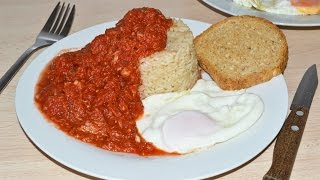 Rice with Tuna-Tomato Sauce & a Fried Egg - Quick & Easy Rice Recipe