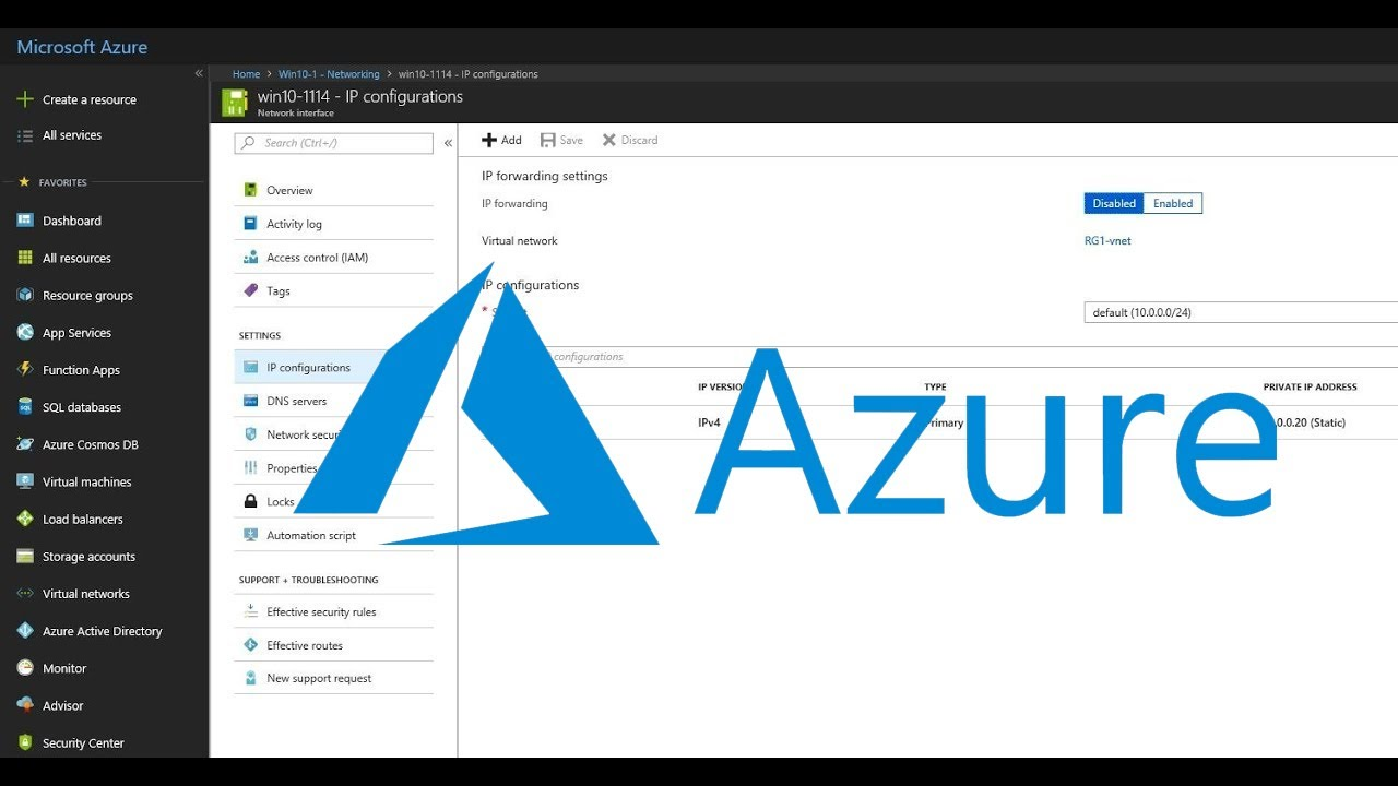 Assign a Static IP Address to a Microsoft Azure Virtual