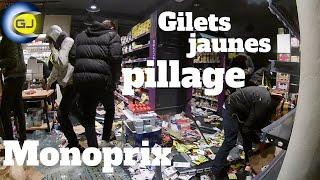 Gilets jaunes : casseurs pillage Monoprix avec une arrestation. Paris 1 décembre 2018, acte III.