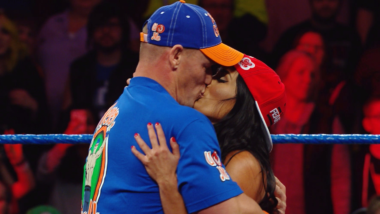 John Cena and Nikki Bella kiss on SmackDown LIVE   YouTube John Cena and Nikki Bella kiss on SmackDown LIVE