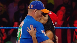 John Cena and Nikki Bella kiss on SmackDown LIVE