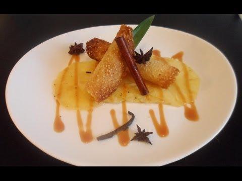 *7* La Cuisine d'Anto -  Carpaccio d'Ananas, Tuiles dentelles & Caramel au Beurre salé