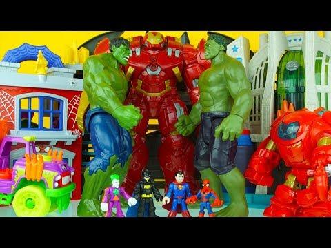 MEGA HULK FAMILY BATTLE iron man spiderman batman superman superhero toys 1
