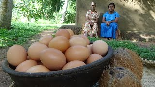 Egg Gravy Recipe ❤ cooking White Egg Curry in my Village by Grandma and Daughter   Village Life