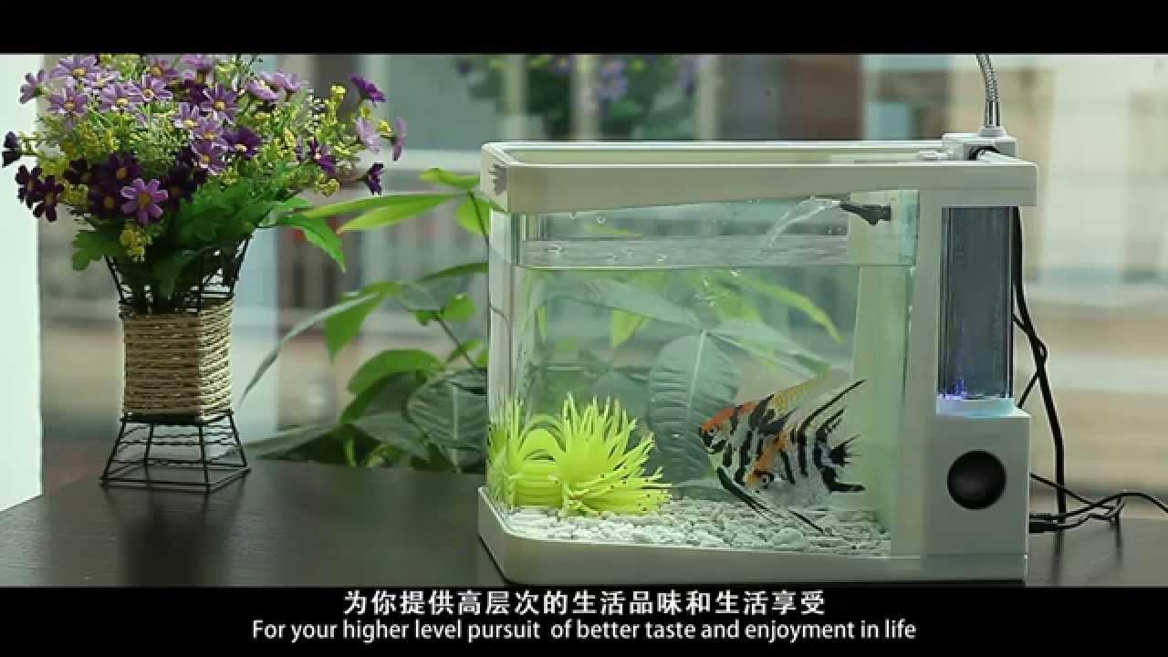 Usb mini aquarium fish tank with colorful light - Brand New Usb Music Fountain Desktop Mini Aquarium With Led Light