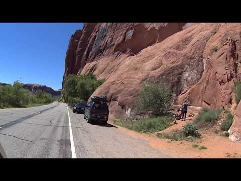 Scenic Indoor Cycling west on Potash Rd near Moab, Utah