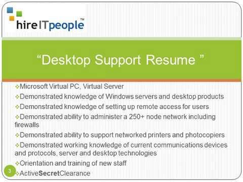 Desktop Support Resume resume for desktop support Desktop Support Resume