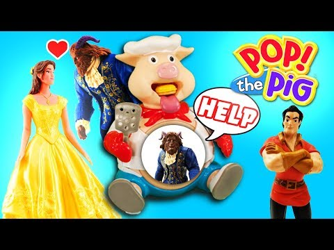 Beauty and The Beast Movie Pop The Pig Game with Belle, Beast and Gaston!