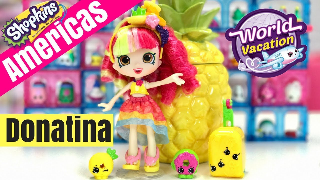 DONATINA from Brazil + Shopkins AMERICAS Season 8 Blind bags Full Box Shoppies Dolls Pinkie Cola