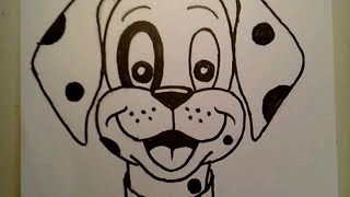 How To Draw A Cute Dog Face Dalmatian Pretty Beautiful Cartoon Doodle Puppy Freehand Realtime