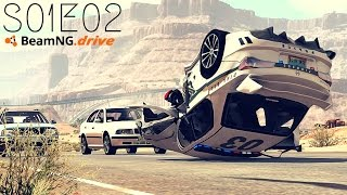 Beamng Drive Movie: Police Chase Ends In Freeway Carnage (+Sound Effects) |PART 2| - S01E02