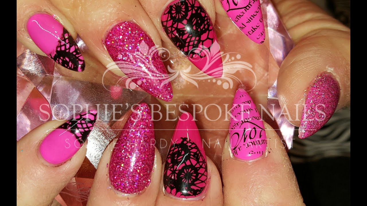 Acrylic Nails Pink Glitter & Lace Nail Design - YouTube