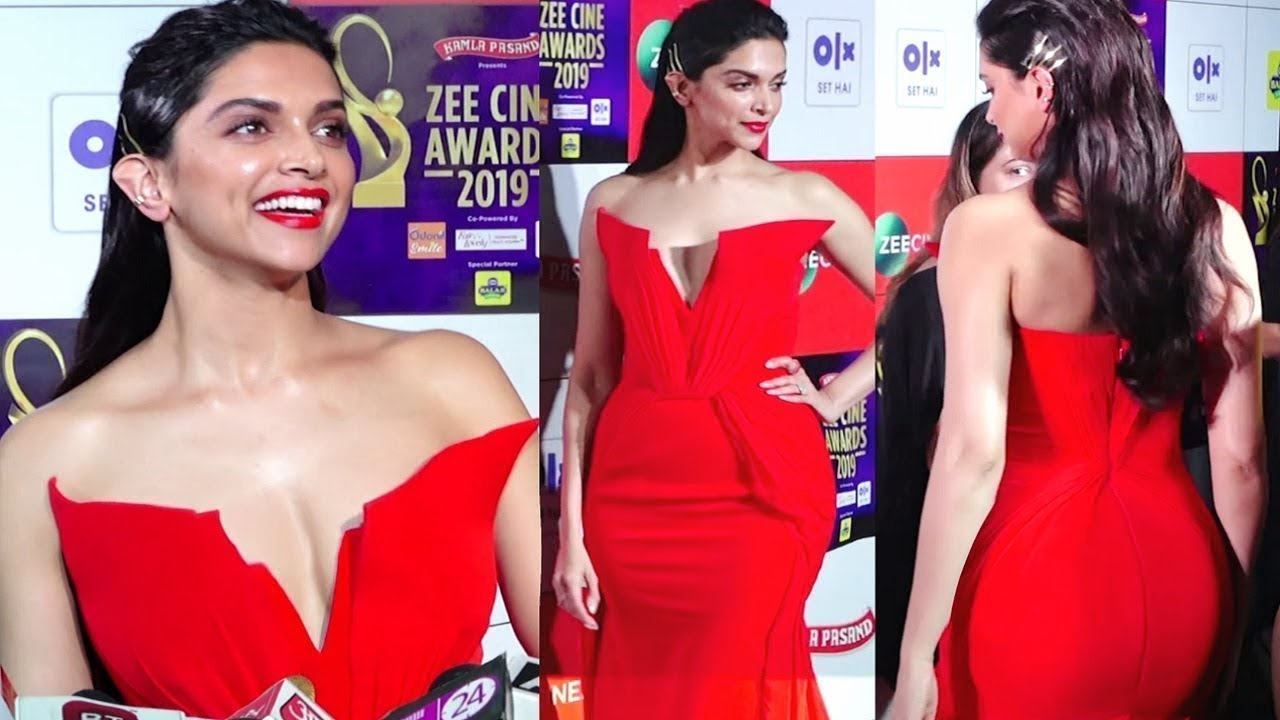 Deepika Padukone Looks Stunning In Red Gown At Zee Cine Awards 2019