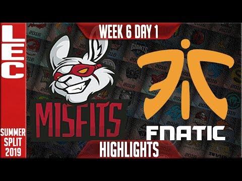 MSF vs FNC Highlights | LEC Summer 2019 Week 6 Day 1 | Misfits Gaming vs Fnatic