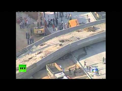 Aerial video: Bridge collapses in Brazil World Cup host city Belo Horizonte