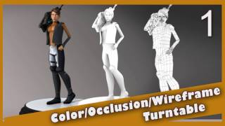 Color, Occlusion and Wireframe Turntable in Arnold