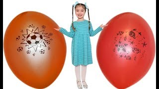 Dominika play with Giant balloons surprise toys