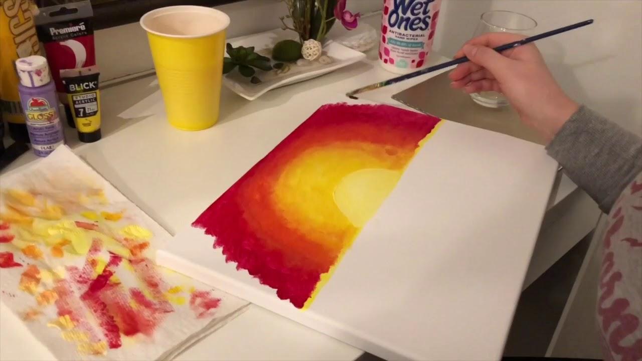 Come Dipingere Un Tramonto Facile Youtube