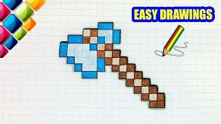 Video Easy drawings #275 How To Draw a Minecraft Axe / Step By Step /Pixel Art download MP3, 3GP, MP4, WEBM, AVI, FLV Juli 2018