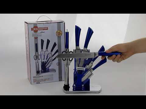 Набор ножей в подставке с синей ручкой