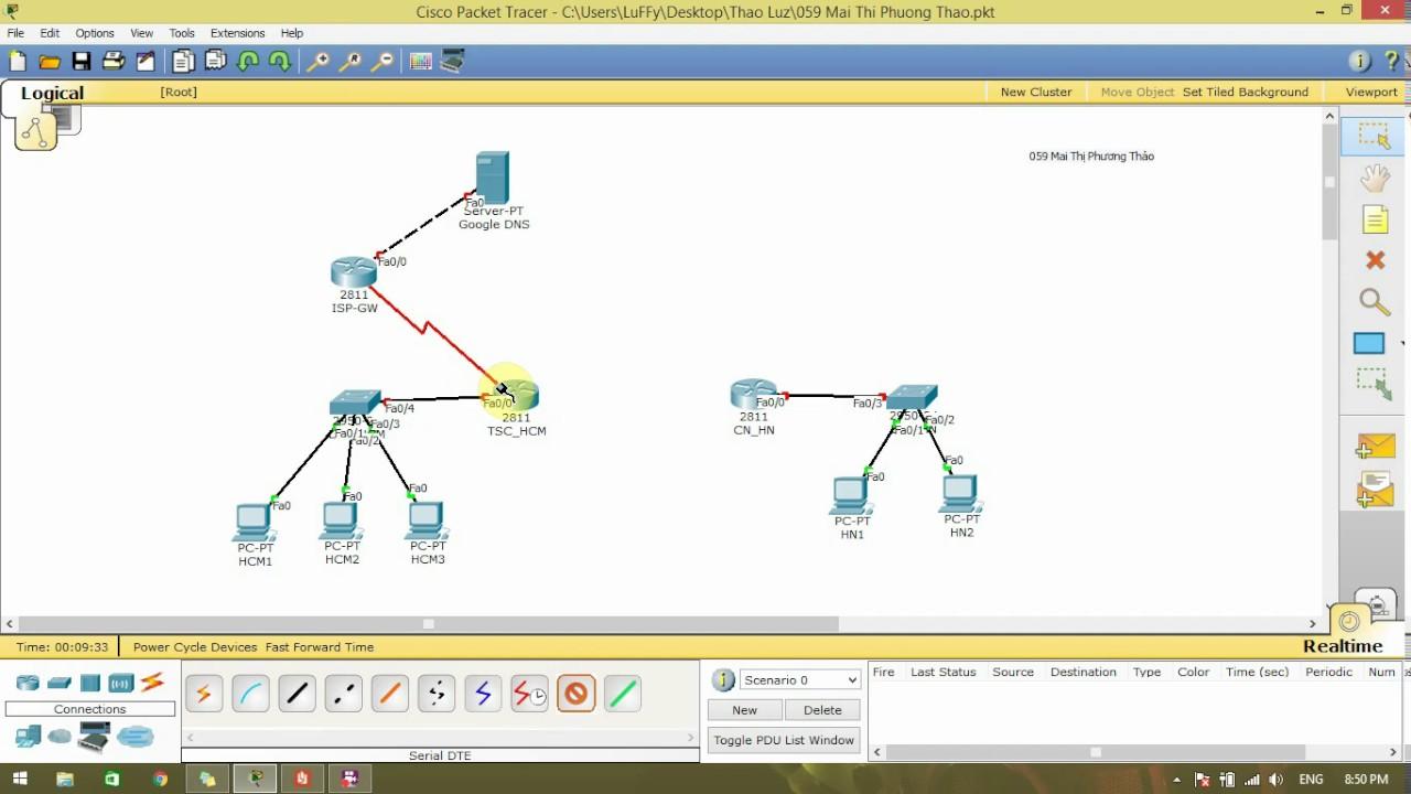 Hướng dẫn sử dụng Cisco Packet Tracer kết nối PC, Router, Switch, Server P1