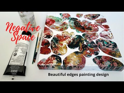 How to paint negative space with acrylics | Art painting tutorials | paint over pouring techniques