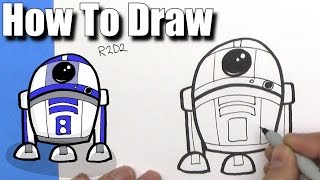 How To Draw Cute Cartoon R2D2 Droid - EASY Chibi - Step By Step - Kawaii