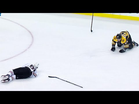 Duclair helped off ice after collision with Marchand