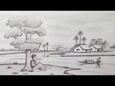 How To Draw Scenery Landscape By Pencil Sketchstep By