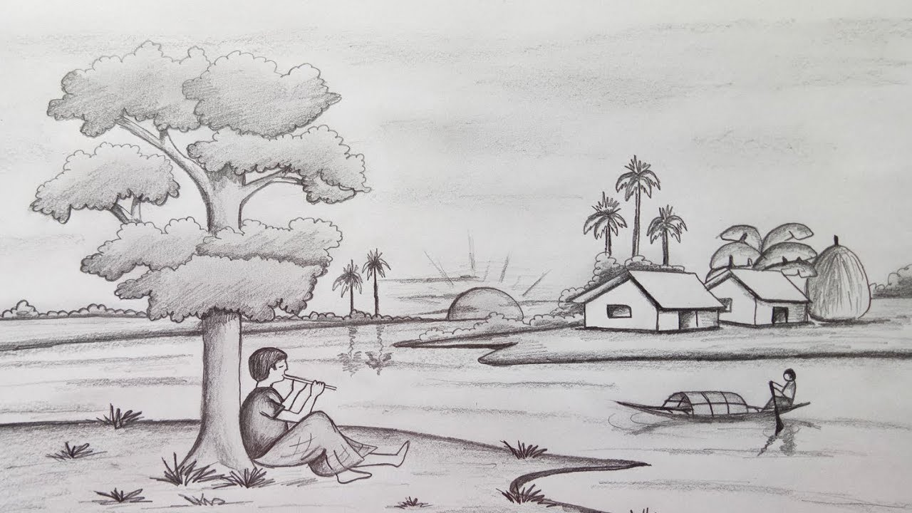 How to draw scenery landscape by pencil sketch step by step easy draw