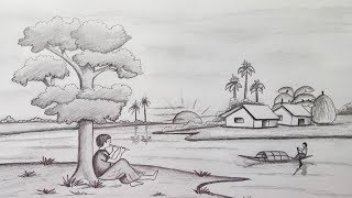 How To Draw Scenery In Pencil Sketch Youtube