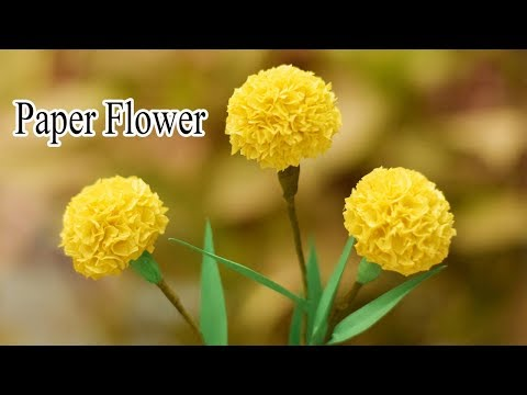 How To Make Marigold Paper Flower From Crepe Paper  Crafts Tutorial   Technic Guru