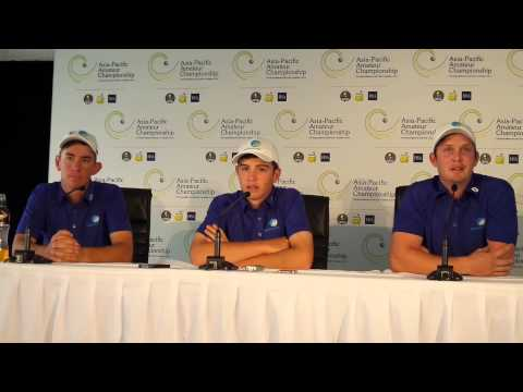 Herbert, Ruffels & Drakeford chat to the media ahead of the Asia-Pacific Amateur at Royal Melbourne