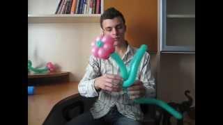 Цветок из шаров незабудка. Бесплатный видео урок. Денис Легков. Balloon flower forget-me-not.