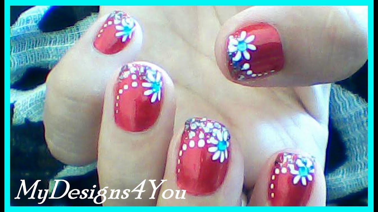 - Floral Nail Art For Short Nails Red Nails Design ♥ - YouTube